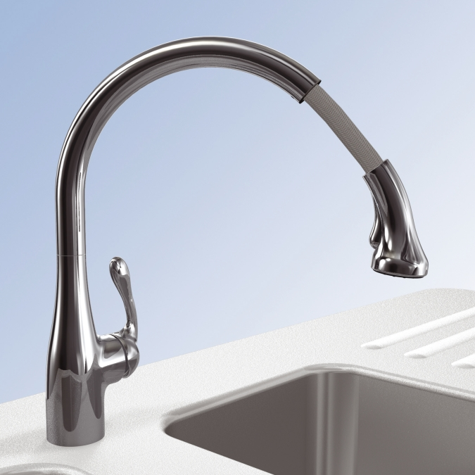 Lovely Hansgrohe Allegro E Gourmet Pull Down Kitchen Faucet #10: Hidden � Additional Chrome Allegro E Gourmet 2-Spray SemiPro Kitchen Faucet,  Pull-Down Hidden � Additional ...