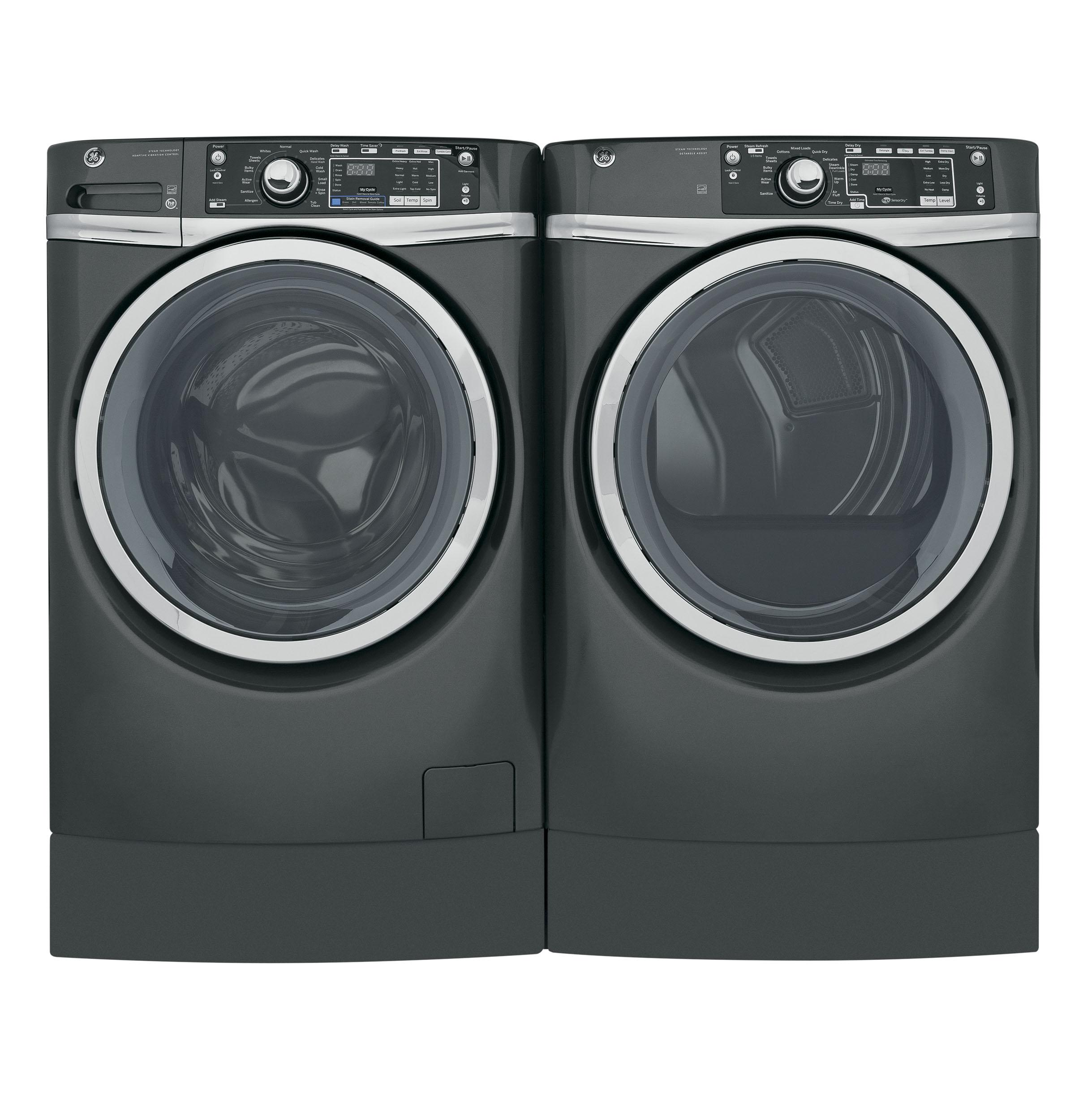 GE(R) 8.3 cu. ft. capacity RightHeight(TM) Design Front Load electric ENERGY STAR(R) dryer with steam