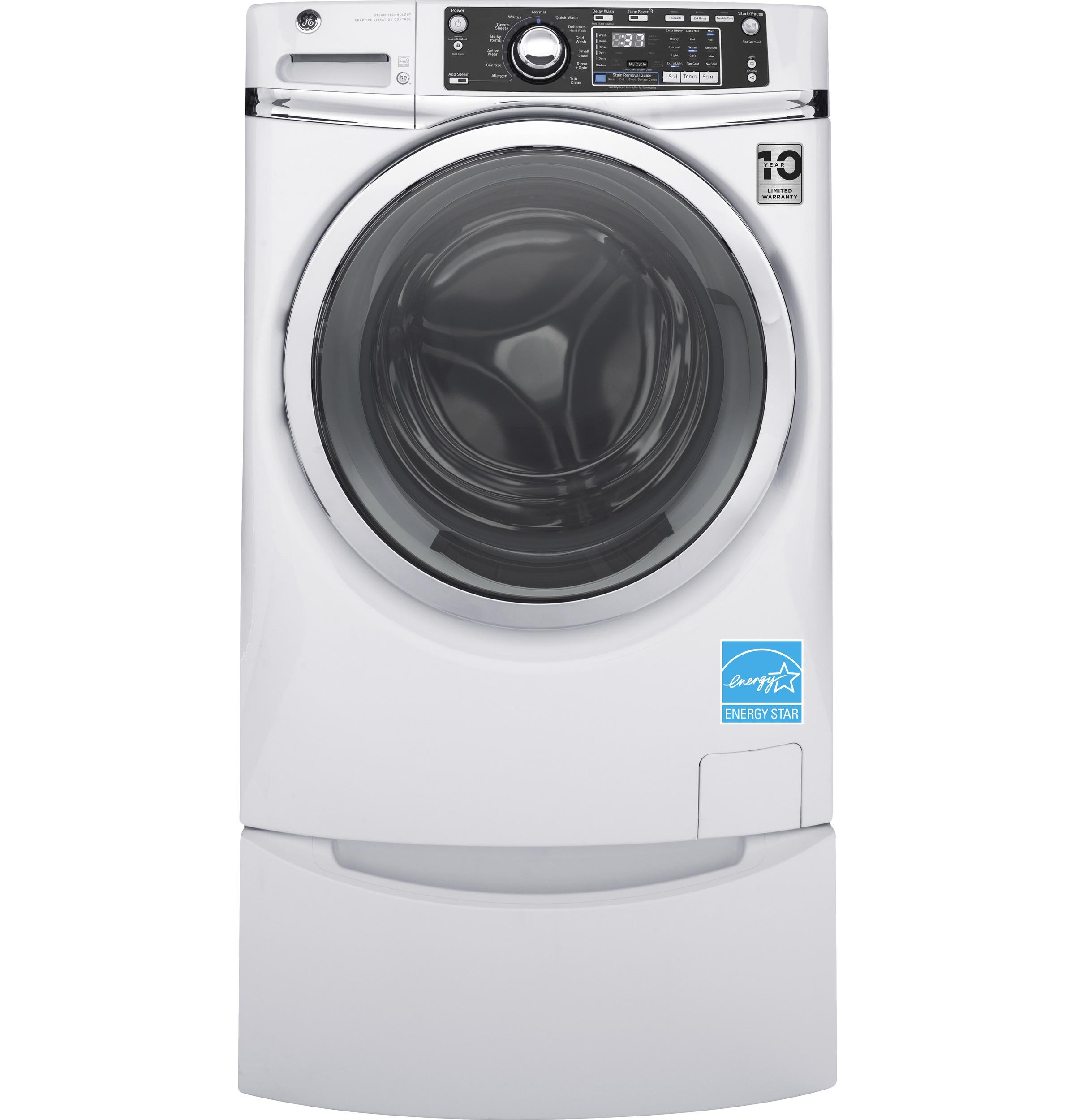 GE(R) ENERGY STAR(R) 4.9 DOE cu. ft. capacity Front Load washer with steam  White