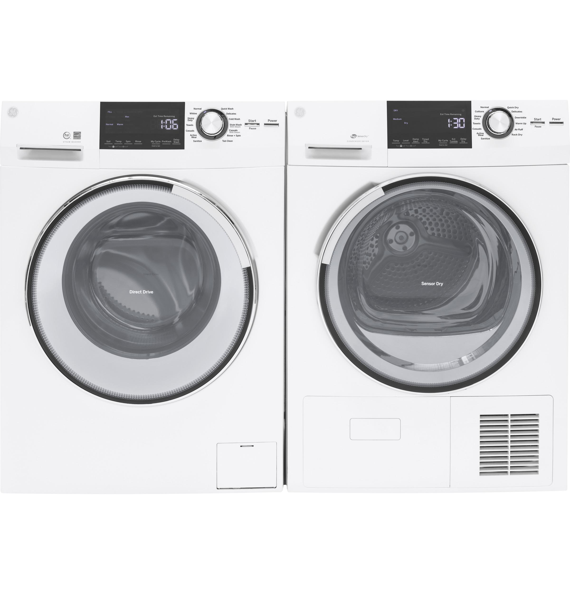 GE(R) 2.4 DOE Cu. Ft. Frontload Washer with Steam  White
