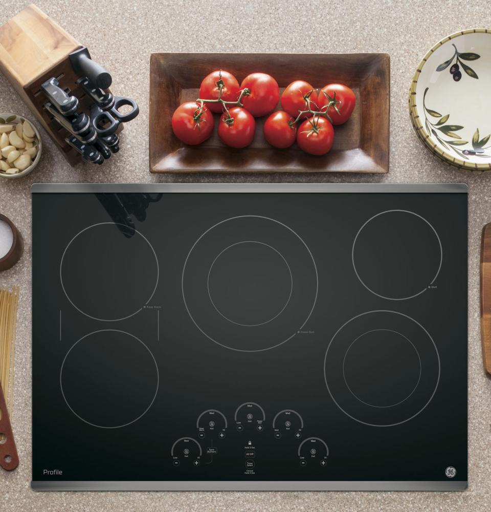 """GE Profile 30"""" Electric Cooktop with Built-In Touch Control  Stainless Steel"""