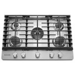 Kitchenaid30'' Gas Cooktop, 5 Sealed Burners, 17,000 BTU professional dual-ring burner, Even-Heat 6,000 BTU simmer burner, Continuous cast-iron grates, Metal knob controls, - Stainless Steel
