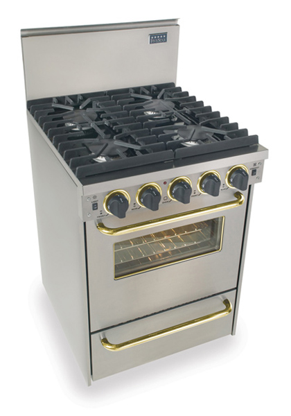 "24"" All Gas Convection Range, Sealed Burners, Stainless Steel with Brass Tr
