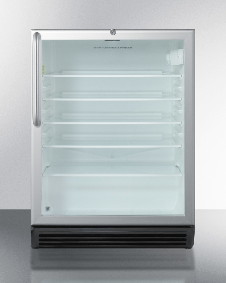 ADA Compliant, Commercially Approved Glass Door Beverage Center With Black Cabinet, Towel Bar Handle, and Front Lock