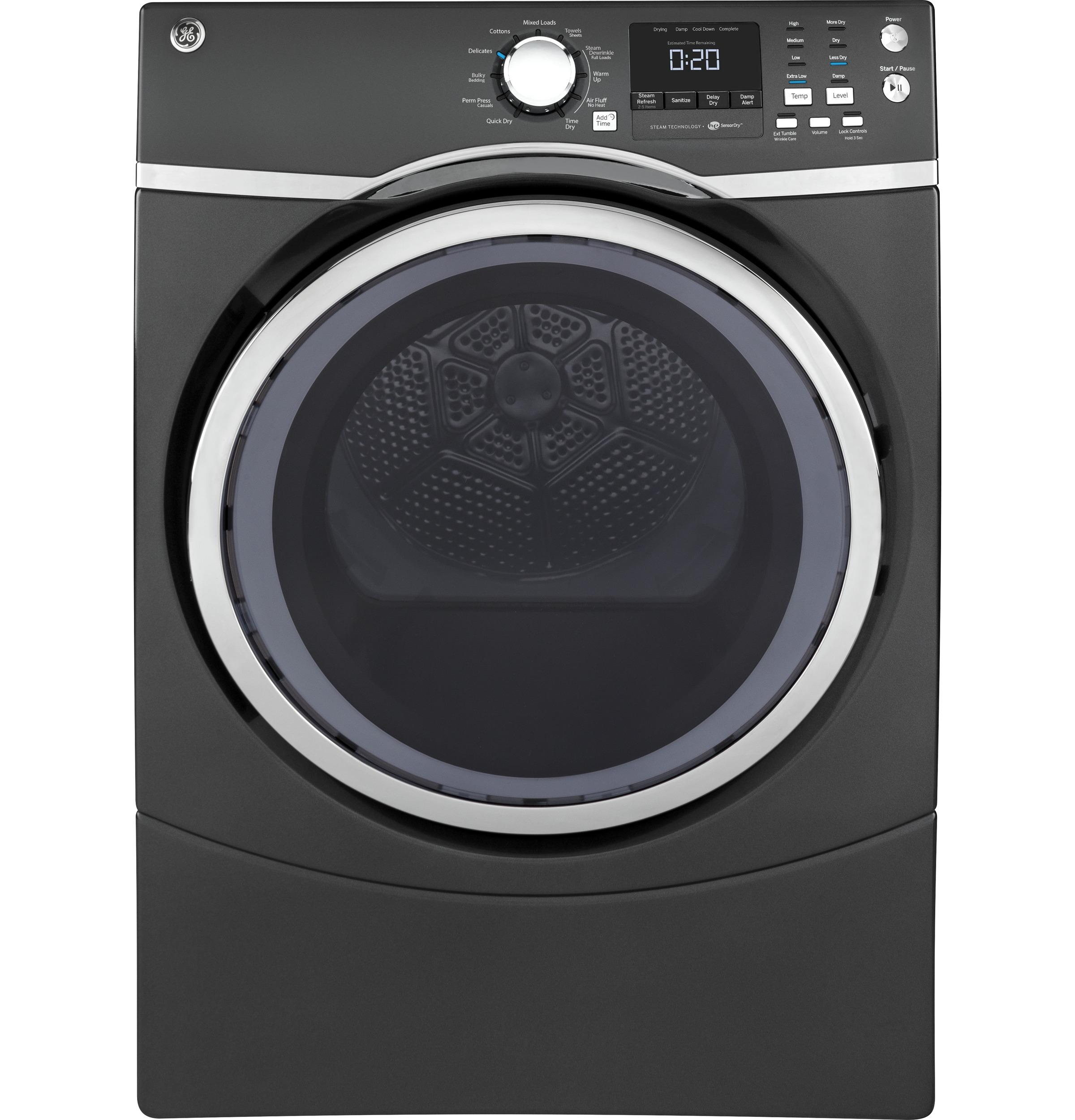 GE(R) 7.5 cu. ft. capacity Front Load electric dryer with steam
