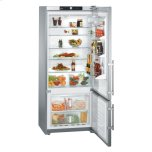 Liebherr30'' Counter Depth Bottom Mount Refrigerator, 14.0 Cu. Ft. Capacity, Energy Star Qualified, SuperCool, FrostSafe-System, Adjustable Glass Shelves, GlassLine Door Storage Racks, Gallon Storage - Stainless Steel Right Hinge