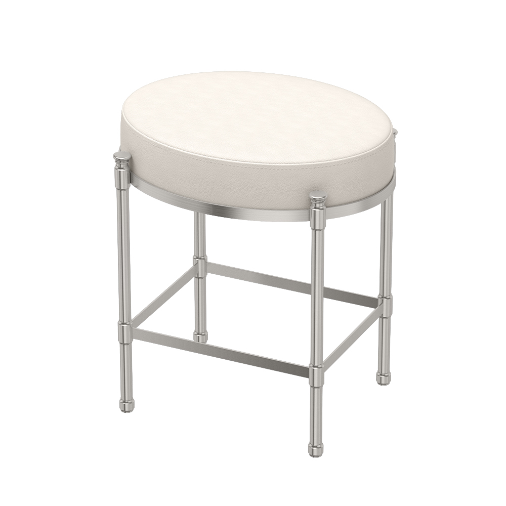 Oval Vanity Stool in Satin Nickel