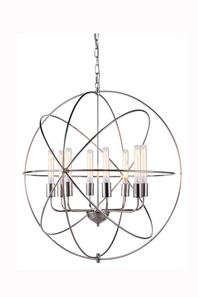 "1453 Vienna Collection Chandelier D:32"" H:33"" Lt:8 Polished Nickel Finish"