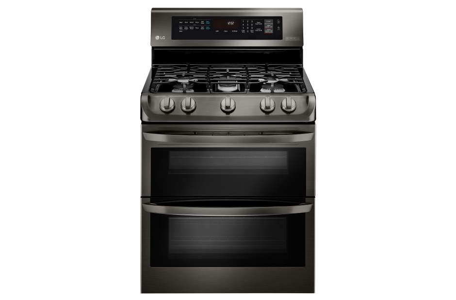 LG Black Stainless Steel Series 6.9 cu. ft. Gas Double Oven Range with ProBake Convection(R), EasyClean(R) and Gliding Rack  Black Stainless Steel