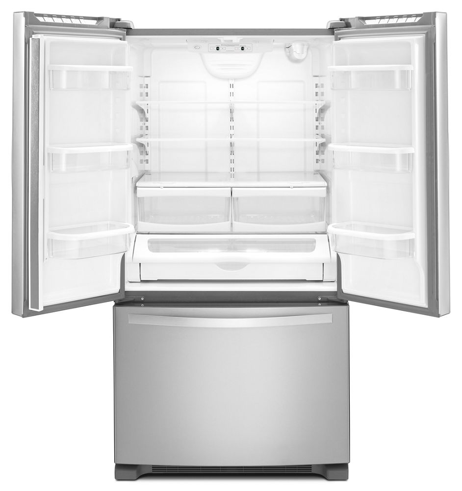 Whirlpool 33 inch wide french door refrigerator with accu for Wide french doors