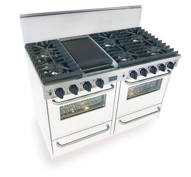 """48"""" All Gas, Convection, Sealed Burners, White  White"""