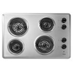 Whirlpool30'' Electric Cooktop, 4 Coil Heating Elements, Infinite-Heat Controls, Chrome Drip Bowls - Stainless Steel