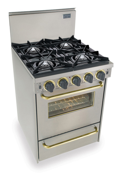 "24"" All Gas Convection Range, Open Burners, Stainless Steel with Brass Trim