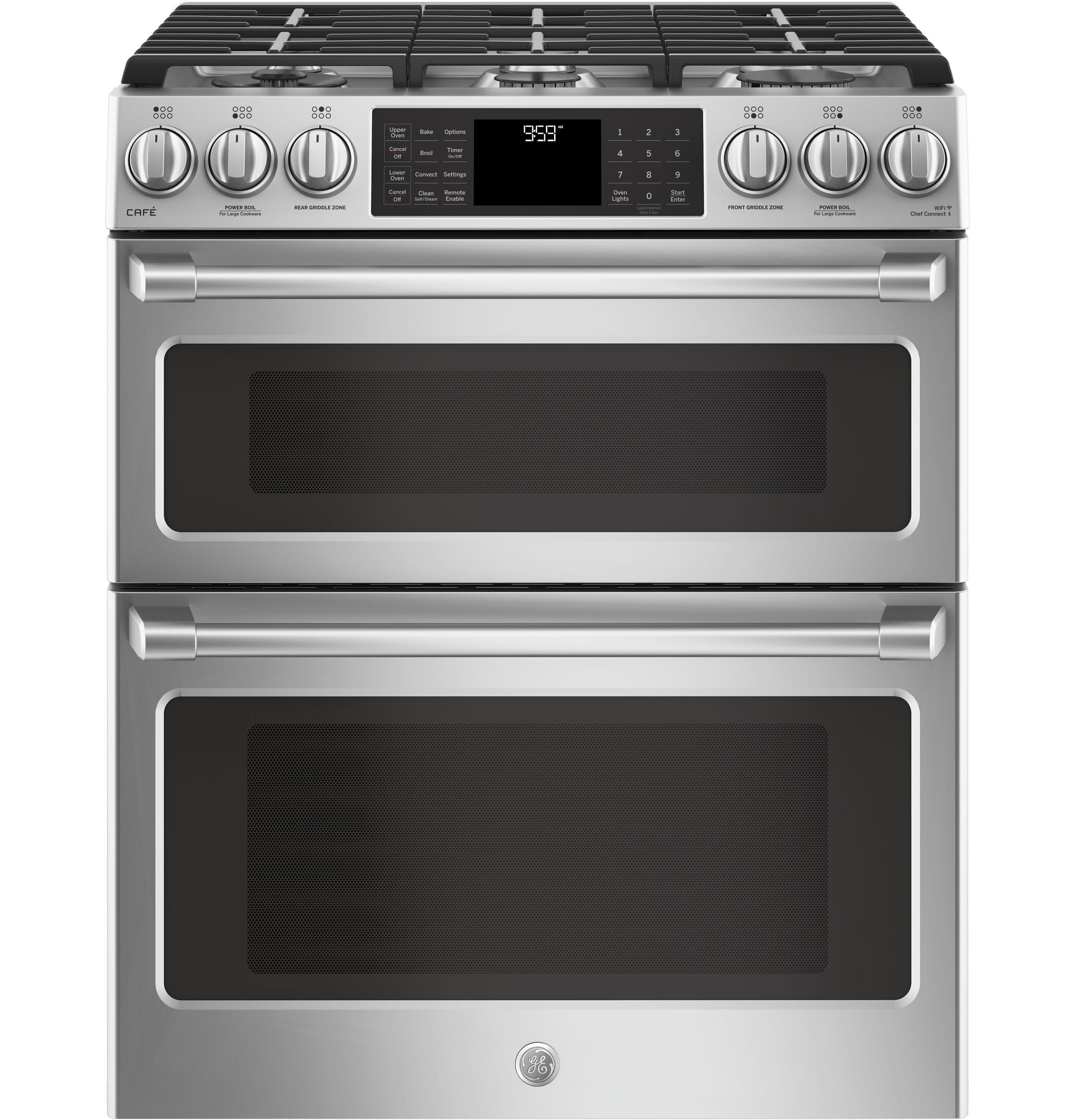 "GE Caf(eback) Series 30"" Slide-In Front Control Gas Double Oven with Convection Range