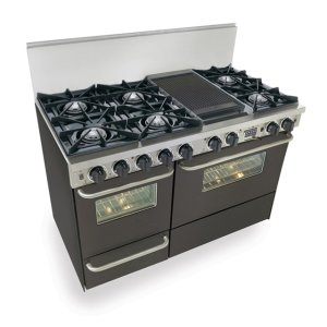 "Five Star 48"" Dual Fuel, Convect, Self Clean, Open Burners, Black"
