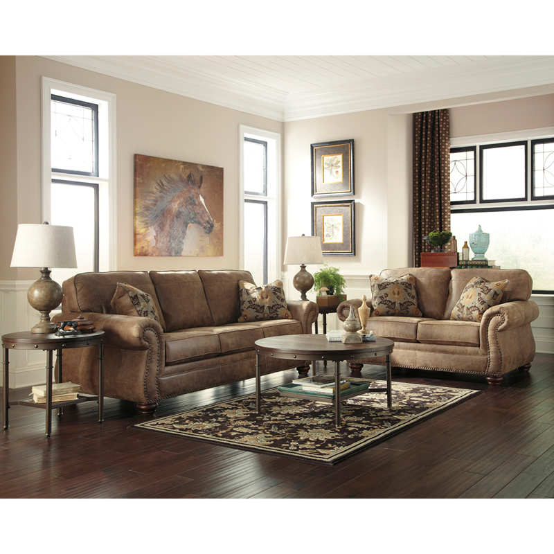 Signature Design by Ashley Larkinhurst Living Room Set in Earth Faux Leather