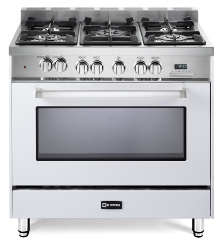 "White 36"" Dual Fuel Single Oven Range -"