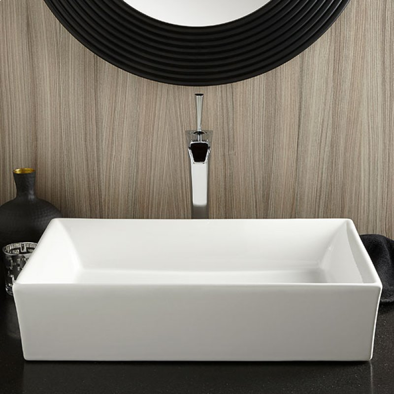 Hidden Additional Pop Rectangle Vessel Bathroom Sink Canvas White