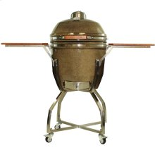 "Heat 19"" Ceramic Kamado Grill with Cart and Shelves"
