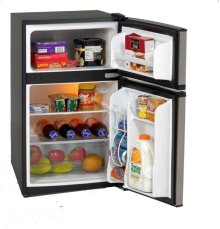 3.1 CF Two Door Counterhigh Refrigerator - Black w/Stainless Steel Doors