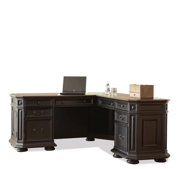 Additional Allegro L Desk And Return Burnished Cherry/Rubbed Black Finish  ...