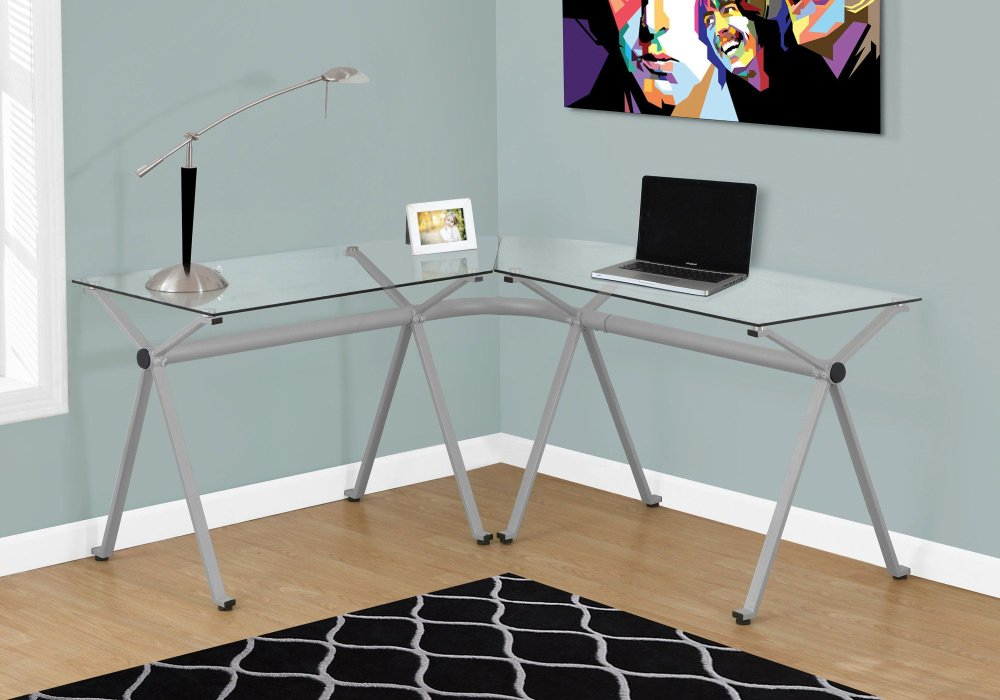COMPUTER DESK - SILVER METAL WITH TEMPERED GLASS