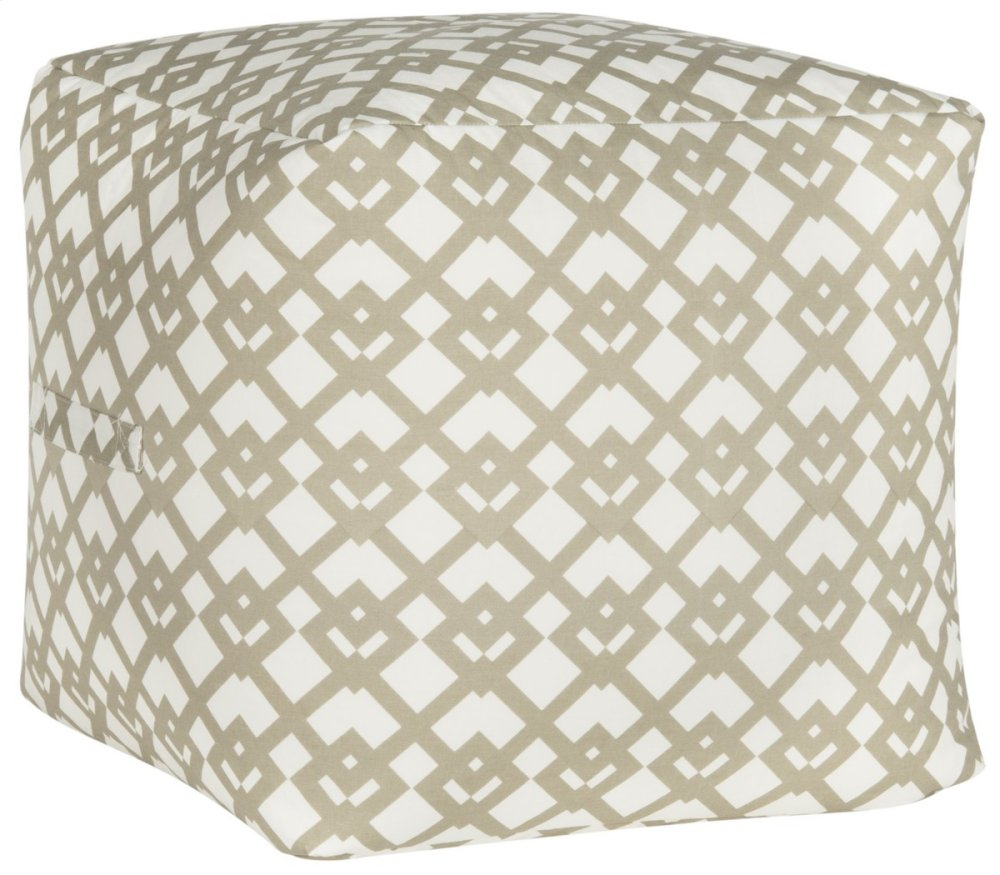 Venetian Pouf - Greige And White Diamond Link