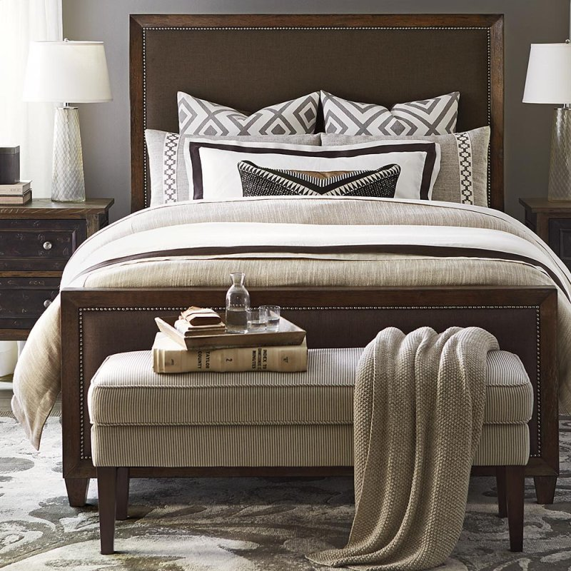 King Northern Grey Compass Upholstered Bed