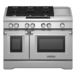 Kitchenaid48'' 6-Burner with Griddle, Dual Fuel Freestanding Range, Commercial-Style - Stainless Steel