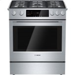 Bosch30'' Gas Slide-In Range 800 Series, 4.8 cu. ft.Oven Capacity, 18,000 BTU Center Burner, Heavy-duty Metal Knobs, Warming Drawer, Standard Convection, Star-K certified, 9 Specialized Cooking Modes Stainless Steel