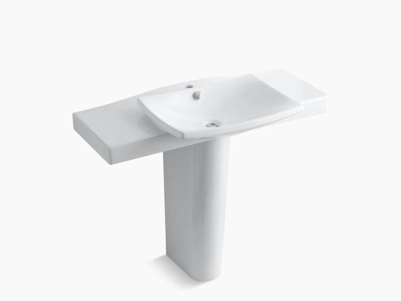 ... Studio41 White Pedestal Bathroom Sink With Single Faucet Hole