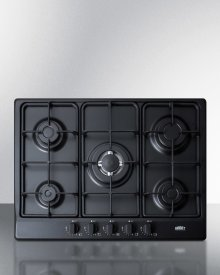 """5-burner Gas Cooktop Made In Italy In A Black Matte Finish With Sealed Burners, Cast Iron Grates, and Wok Stand; Fits Standard 24"""" Wide Cutouts"""