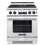 American Range�Variable infinite flame settings for all sealed top burners �Blue LED light indicates oven functions �Heavy metal die-cast black satin knobs with chrome bezels �Front panel switch controls oven lighting for optimal visibility �	Two chrome racks glide at