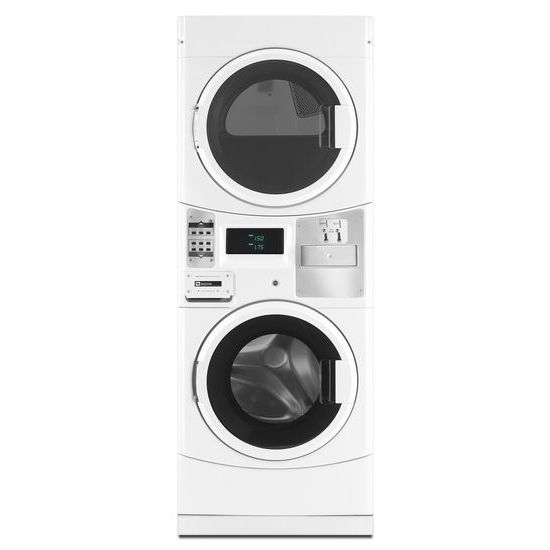 Commercial Energy Advantage(TM) Stack Washer/Dryer, Microprocessor Controls, Coin Drop  White