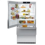 Liebherr36'' Counter Depth Bottom Mount Refrigerator, 20 Cu. Ft. Capacity, Energy Star Qualified, SuperCool, FrostSafe System,  Double Freezer Drawers, Glass Shelves, Deli Drawer, LED Lights - Stainless Steel Left Hinge
