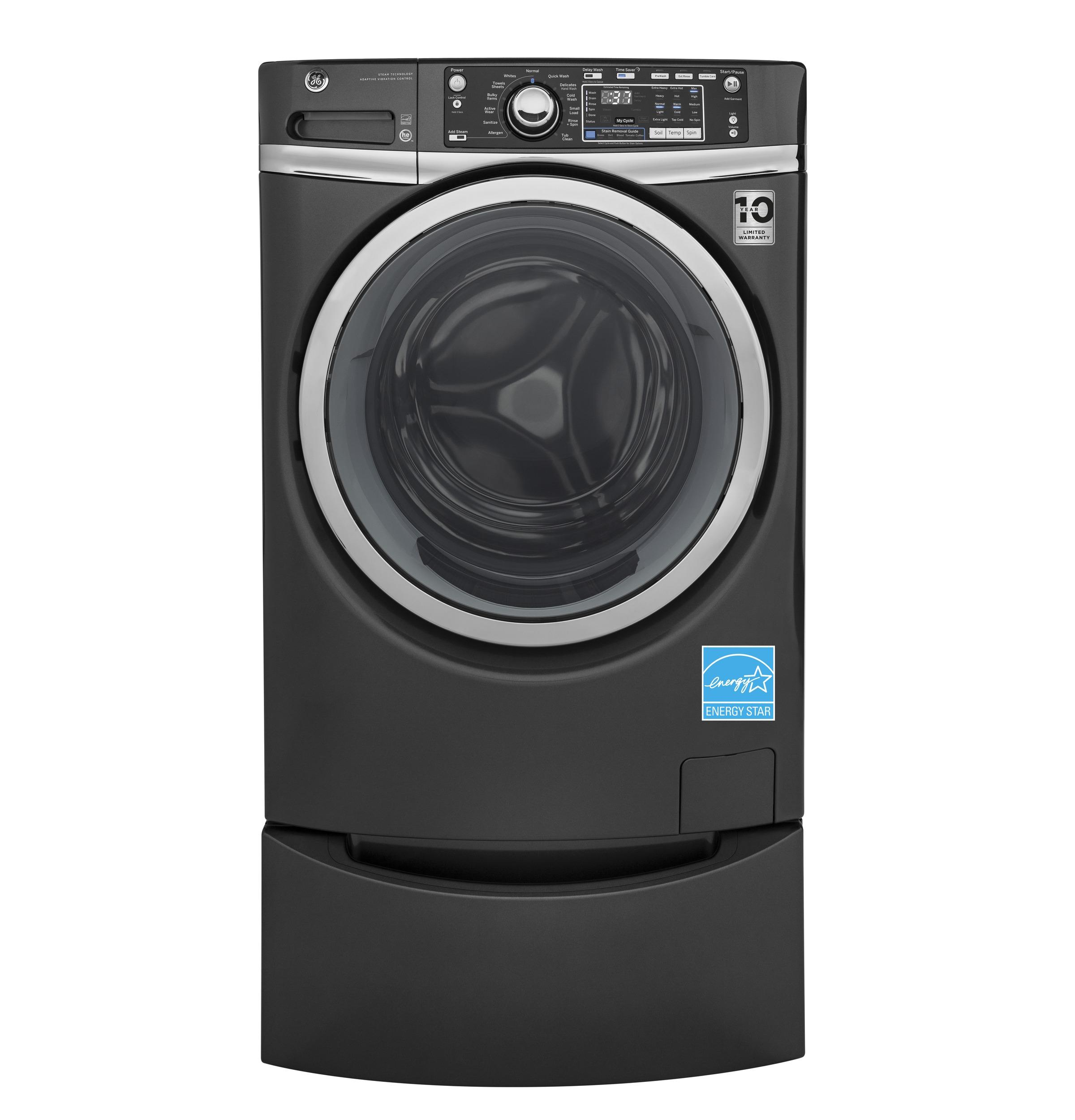 GE(R) ENERGY STAR(R) 4.9 DOE cu. ft. capacity Front Load washer with steam  Diamond Gray