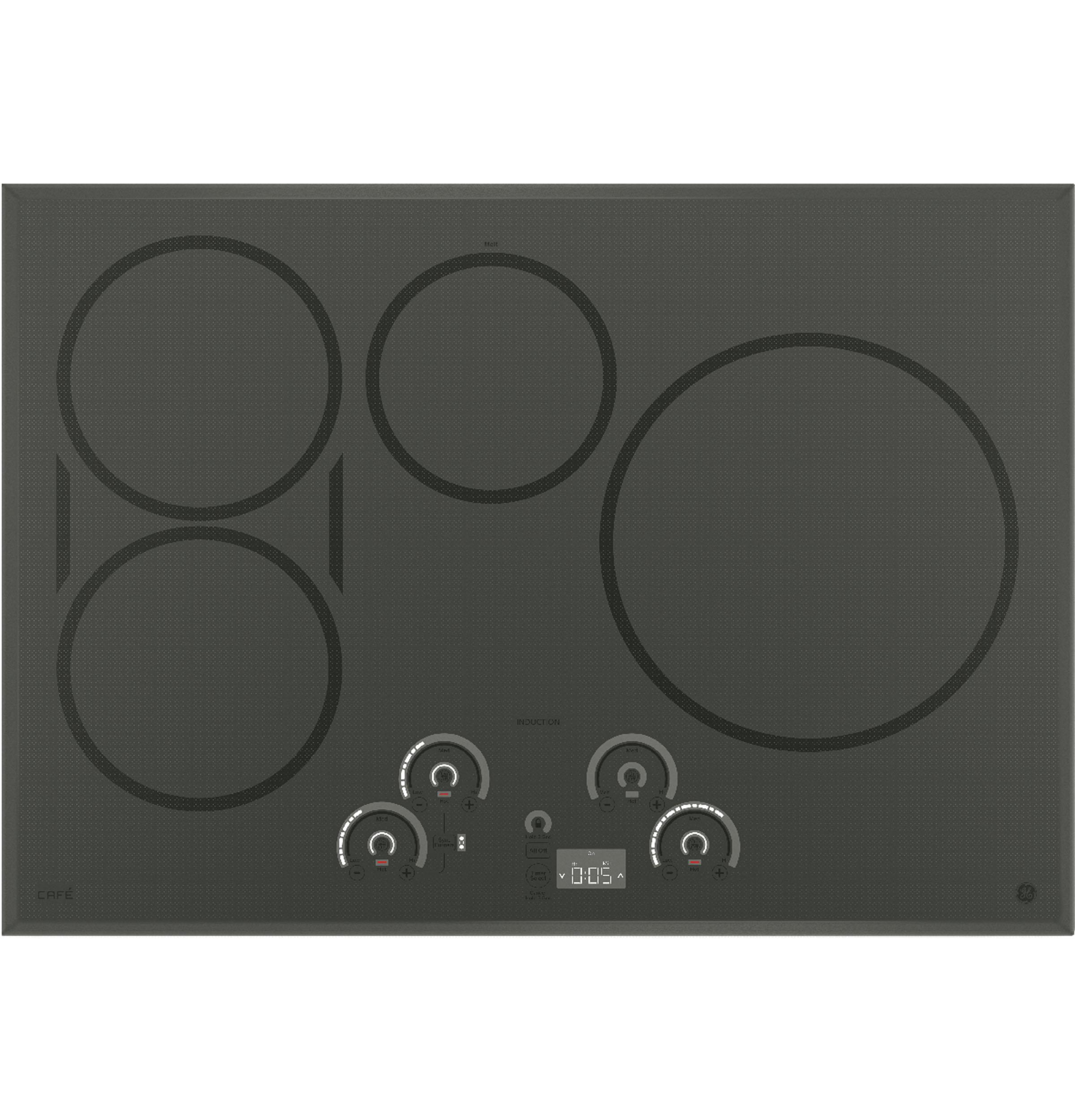 """GE Cafe(TM) Series 30"""" Built-In Touch Control Induction Cooktop  Gray"""