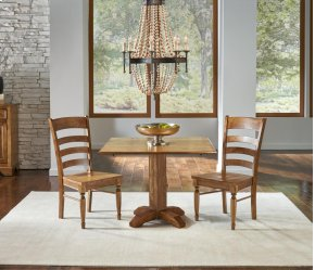 SQUARE DROP LEAF TABLE with 2 Chairs