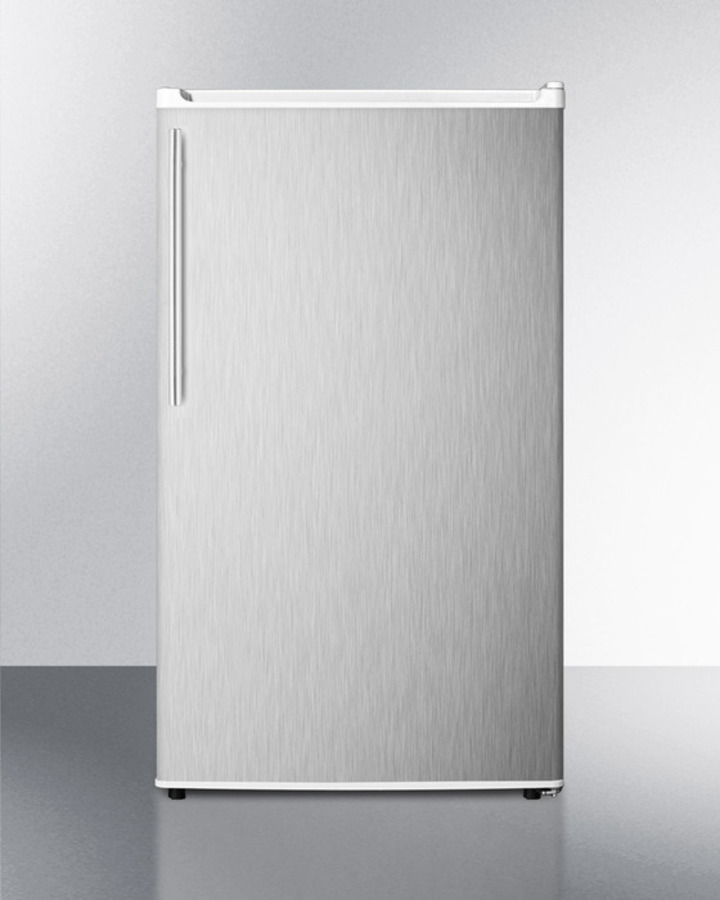 Energy Star Qualified Auto Defrost Refrigerator-freezer, With A Counter Height White Cabinet, Stainless Steel Door, and Thin Handle