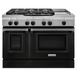 Kitchenaid48'' 6-Burner with Griddle, Dual Fuel Freestanding Range, Commercial-Style - Imperial Black