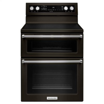 KitchenAid® 30-Inch 5 Burner Electric Double Oven Convection Range - Black Stainless Product Image