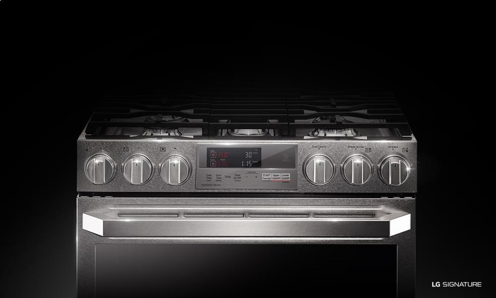 LG SIGNATURE 7.3 Cu.ft. Dual Fuel - Double Oven Range with ProBake Convection(R)  Textured Steel