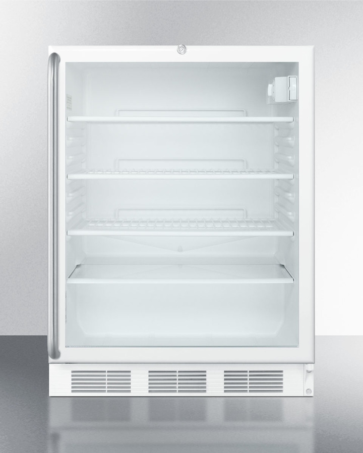 ADA Compliant Commercially Listed Built-in Undercounter Glass Door All-refrigerator With White Cabinet, Full Length Ss Handle, and Front Lock