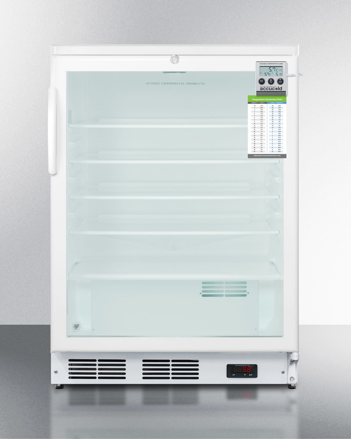 "24"" Wide ADA Compliant Glass Door All-refrigerator for Built-in Use, With Digital Thermostat, Internal Fan, Lock, Temperature Alarm, and Hospital Grade Plug"