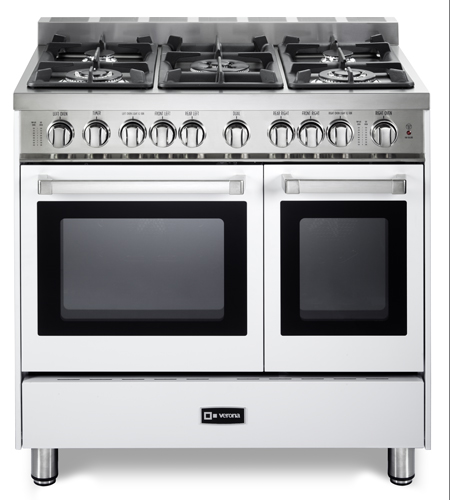 "White 36"" Gas Double Oven Range -"
