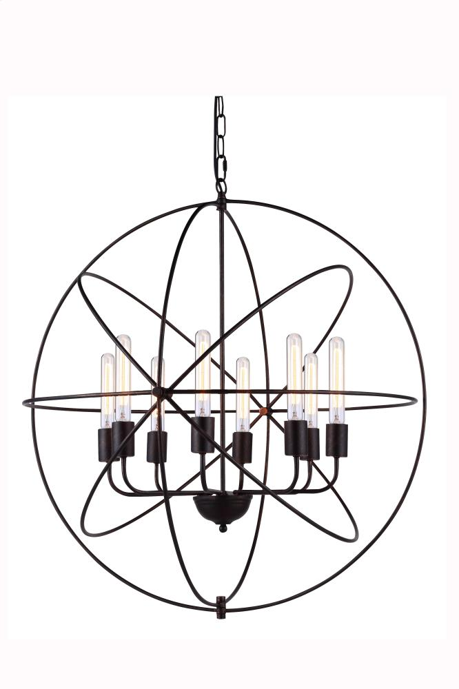 "1453 Vienna Collection Chandelier D:32"" H:33"" Lt:8 Dark Bronze Finish"