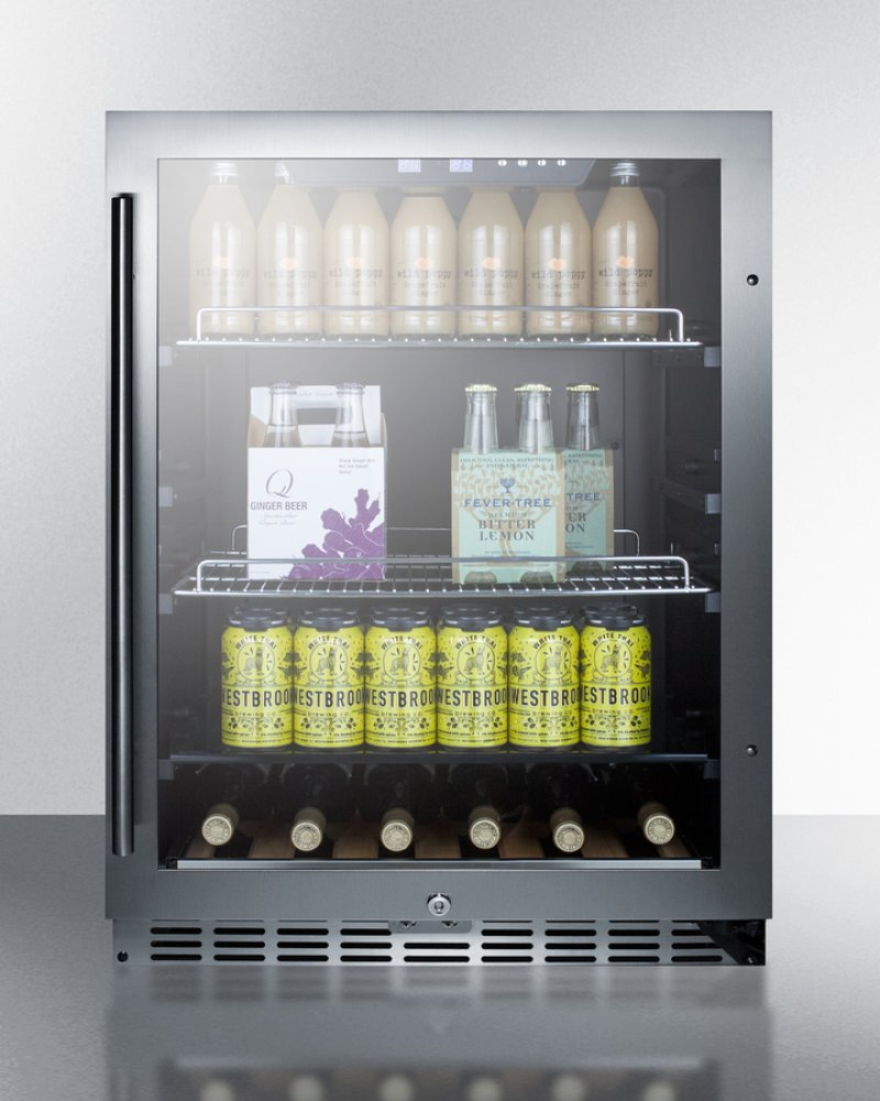 Undercounter Beverage Refrigerator Glass Door Scr2466 In By Summit In Built In Undercounter Beverage