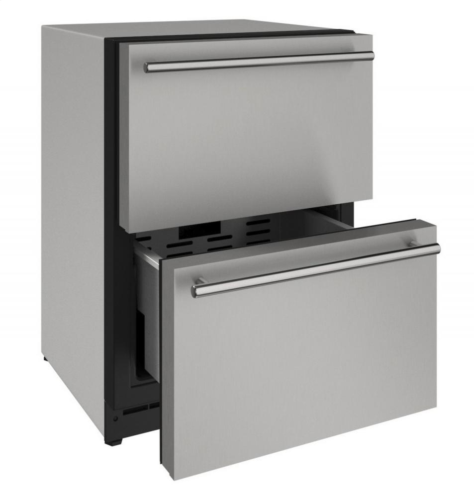 "2000 Series 24"" Solid Refrigerator Drawers With Stainless Solid Finish and Drawers Door Swing