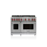 Wolf�Automatic Reignition �Infrared Charbroiler �	Continuous Cast-Iron Grates �	2.5/4.4 Cu Ft Oven Capacities �Optional 5�, 10� and 20� Stainless Steel Risers