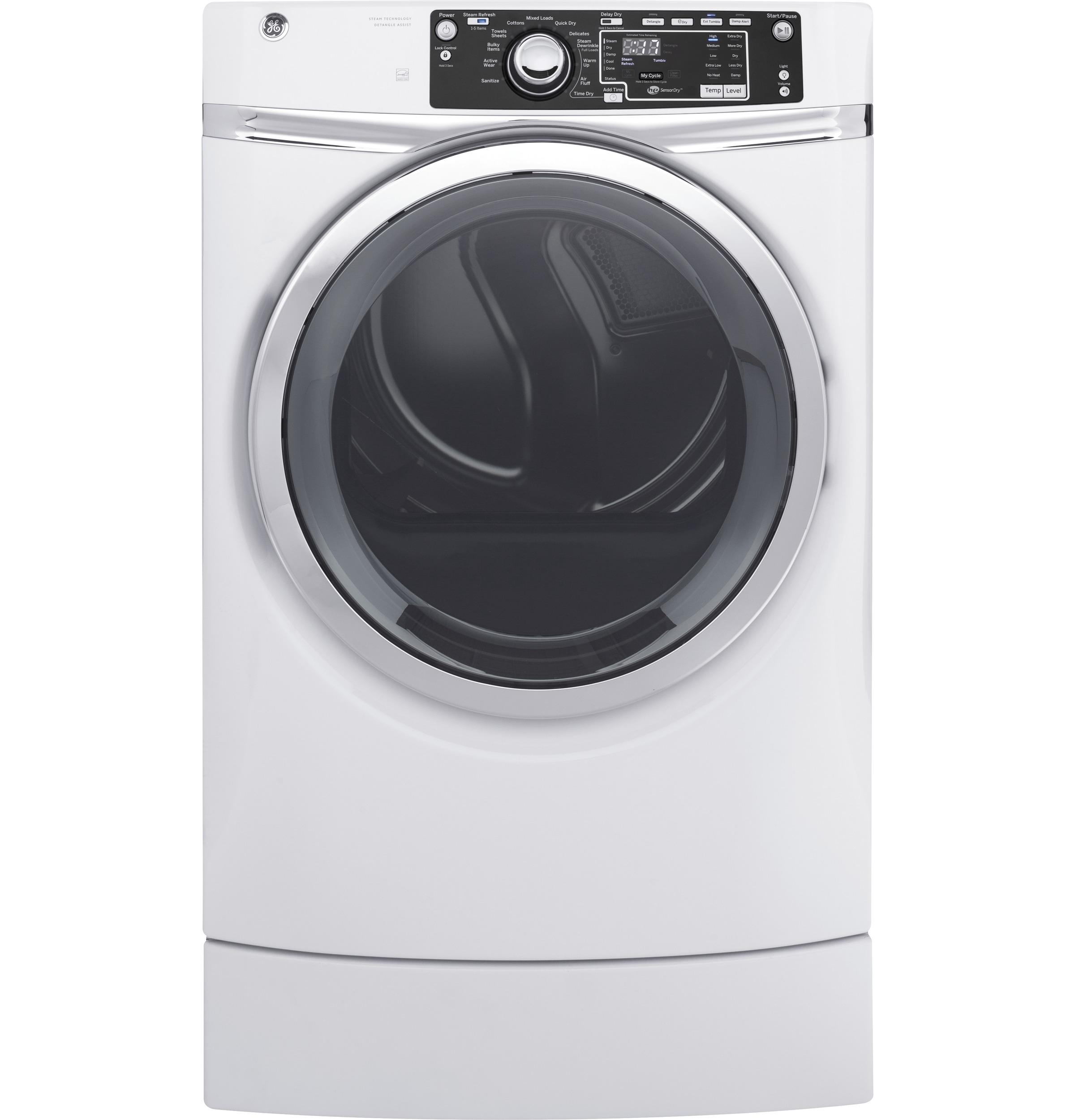 GE(R) 8.3 cu. ft. capacity RightHeight(TM) Design Front Load gas ENERGY STAR(R) dryer with steam